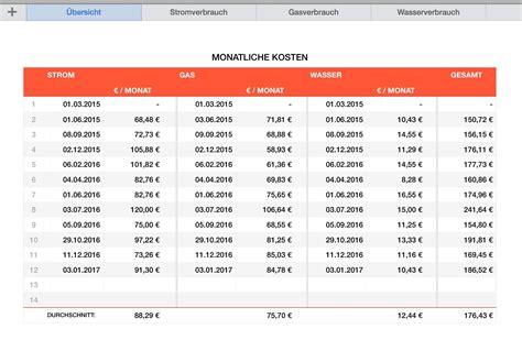 Strom Wasser Gas Kosten by Numbers Vorlage F 252 R Stromverbrauch Gasverbrauch Und