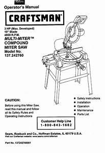 Craftsman 137242760 User Manual 10 Compound Miter Saw