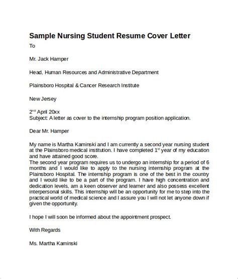 nursing cover letter templates   sample