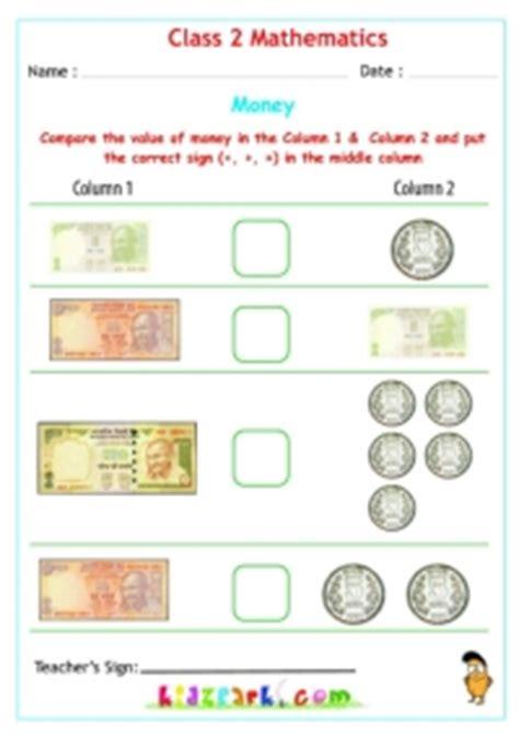 money worksheets  class  maths kidzparkcom