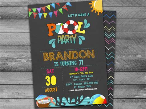 pool party invitation instantly