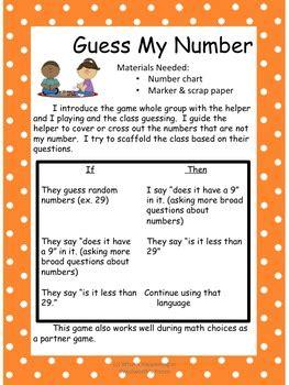 guess  number kindergarten math game tpt