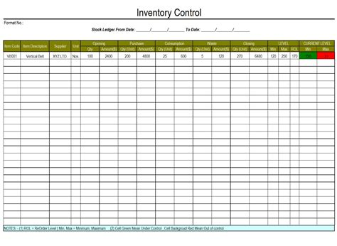 Inventory Template Inventory List Template For Business Products Or