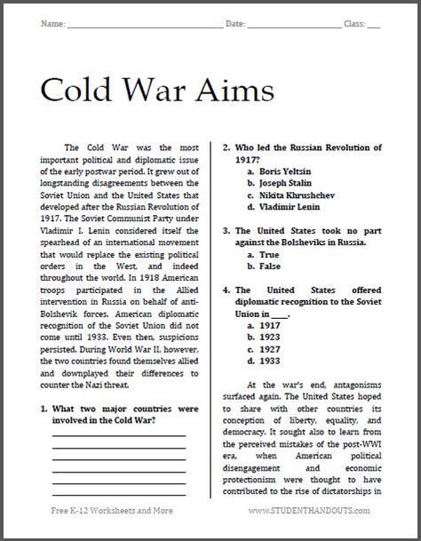 Cold War Aims  Free Printable Worksheet For High School American History  Social Studies