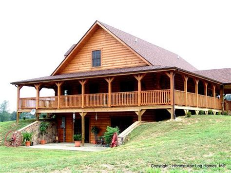 grandfield  honest abe log homes    degree wrap  porch  walk  basement