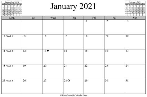 january  calendar horizontal layout