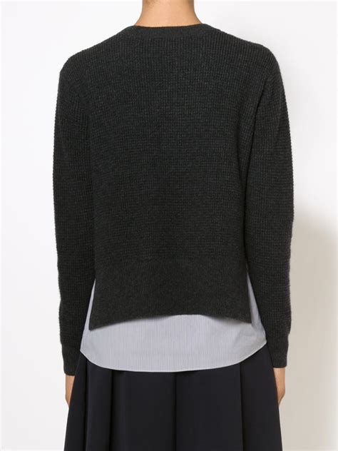sweater blouse combo thakoon addition sweater and shirt combo in gray lyst