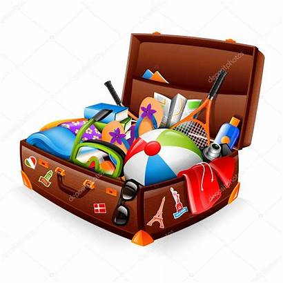 Suitcase Vacation Illustration Clipart Stuffed Bring Vector
