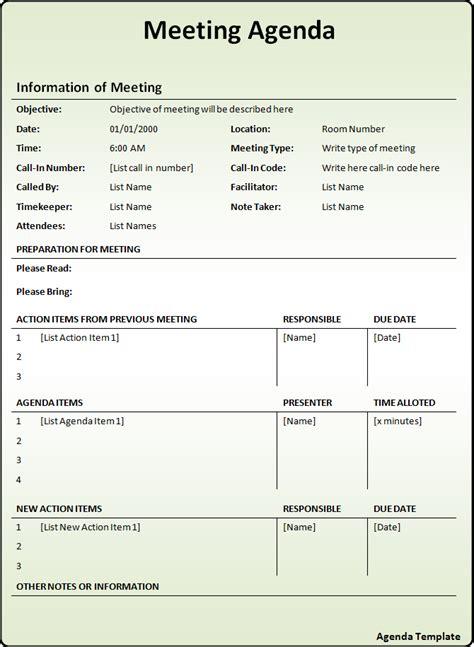 agenda templates  word templates