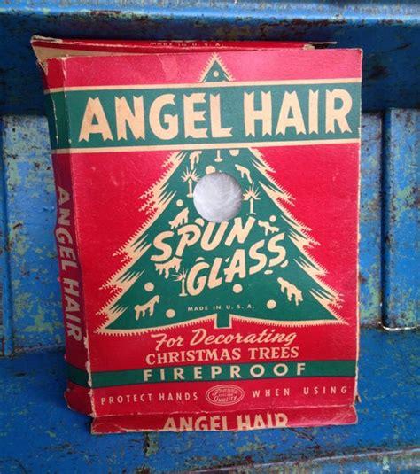 christmas tree angel hair spun glass tinsel box vintage