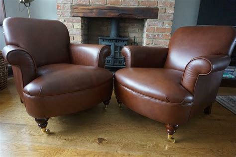 Laura Ashley Pair Of Harbrook Leather Armchairs