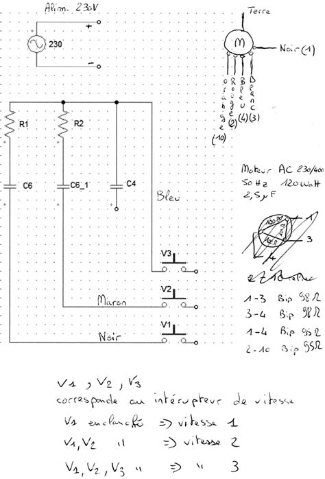 branchement hotte cuisine problème câblage moteur électrique hotte cuisine 3