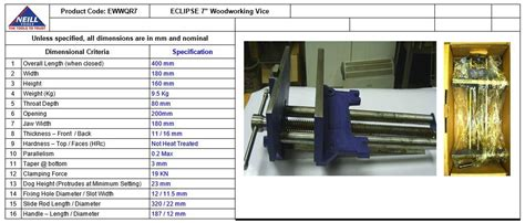 eclipse quick release woodworking vise gray cast iron