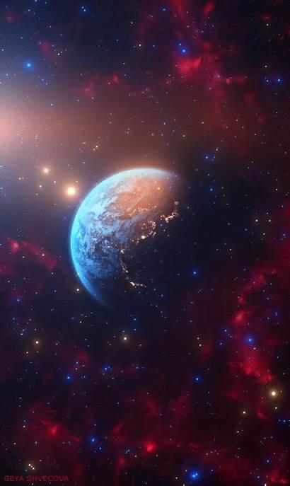 Earth Geya Shvecova Galaxy Space Planets Background