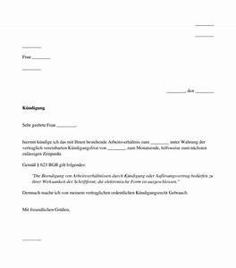 Kündigungsfrist Berechnen Arbeitgeber : k ndigung durch den arbeitnehmer muster word und pdf ~ Themetempest.com Abrechnung