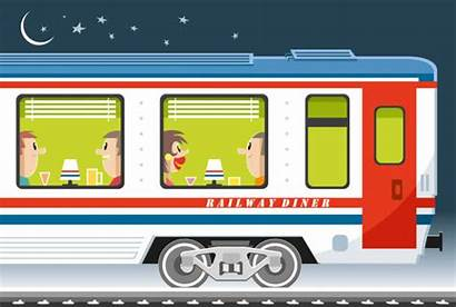 Train Vector Dining Clip Compartment Passengers Railroad