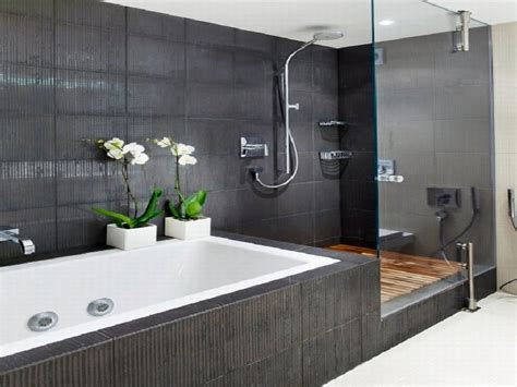 Inspiring Small Bathroom Color Ideas With Grey Wall Tiled As Well As Simple Corner Walk In