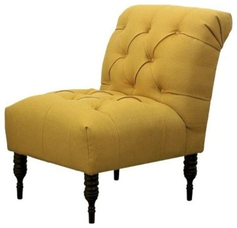 vaughn tufted slipper chair yellow transitional