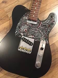 Custom Black Red White Paisley Pickguard Fender