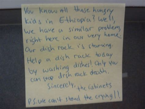 passive aggressive notes  reproach  roommate