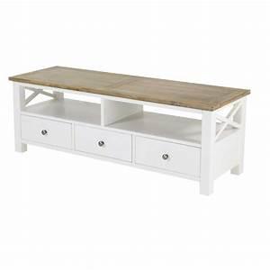 Meuble Bois Et Blanc : meuble tv blanc 130 cm bois d 39 acacia milano meubles pinterest meuble tv meuble tv bois et tv ~ Teatrodelosmanantiales.com Idées de Décoration