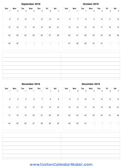 september  december  calendar printable