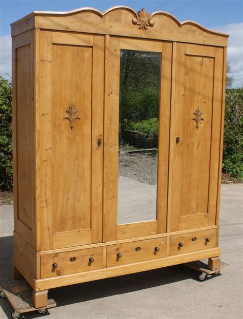 Solid Pine Wardrobe by A 19th Century Large Antique Solid Pine Armoire