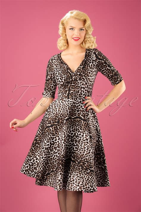 swing style 50s delores swing dress in leopard