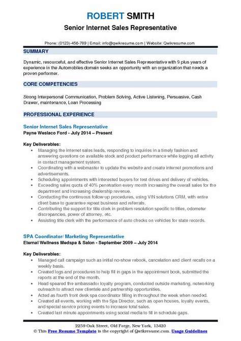 Resume Free Sle by Sales Representative Resume Sles Qwikresume