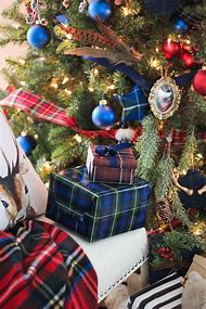 plaid christmas tree decorations