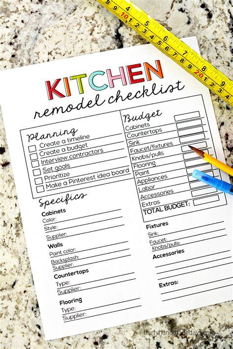kitchen remodel checklist  time favorite printables