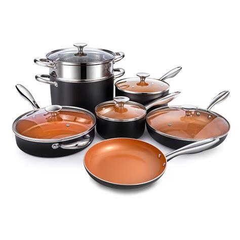 michelangelo nonstick copper pots  pans set  piece