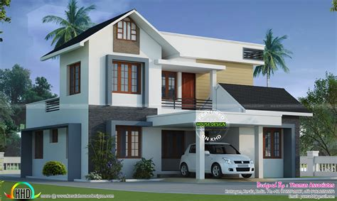 modern style mix roof home   sq ft kerala home design  floor plans