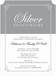 gray and white silver themed anniversary formal party With sample of 25th wedding anniversary invitations