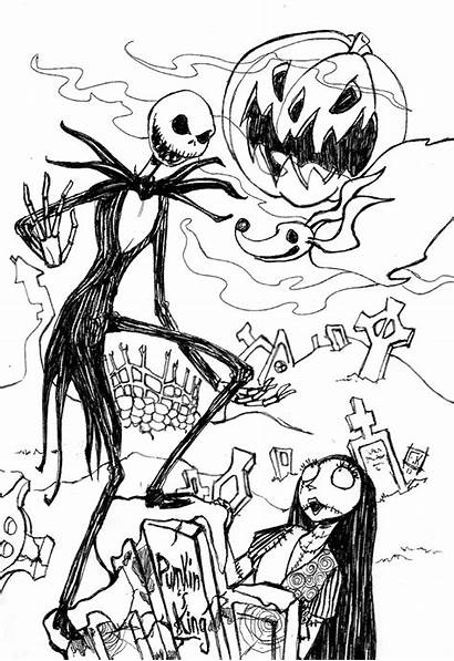 Skellington Jack Nightmare Christmas Before Coloring Pages