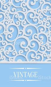 Vector Blue 3d Vintage Invitation Card With Floral Swirl ...