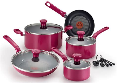 cookware oven safe pink pfoa nonstick dishwasher purple cooking fal thermo pans pots piece excite spot glass stoves amazon gift