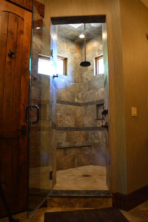 Shower Renovation Ideas Bathroom Rustic With Tall Ceiling