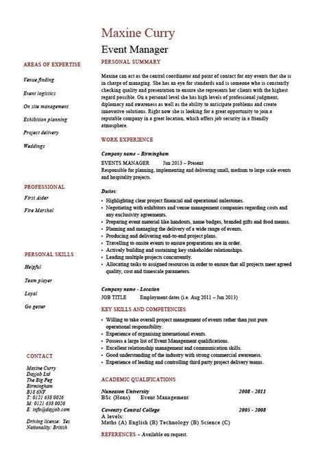 Event Manager Resume, Templates, Examples, Samples