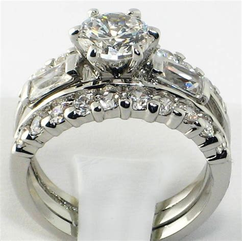 925 sterling silver wedding promise baguette cz 3 pc ring band ebay