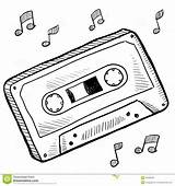 Cassette Tape Drawing Clipart Sketch Vector Doodle Drawings Illustration Tattoo Record Player Tapes Illustrations Clip Casette Audio Template Retro Rewind sketch template