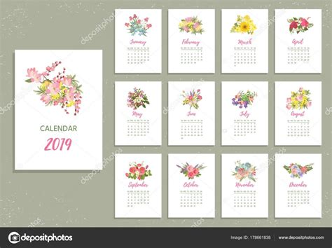Para Imprimir Calendario De 2019 Con Flores Muy Coloridas