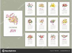 Calendário de 2019 para imprimir com flores muito