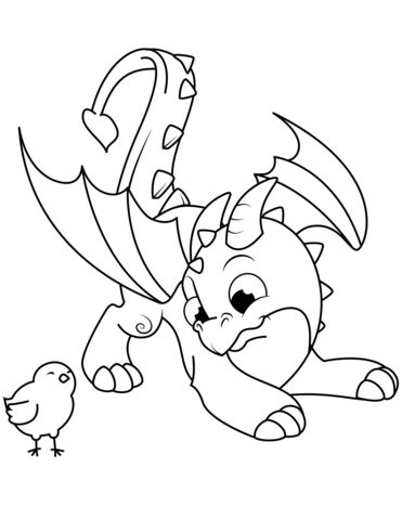 Cute Dragon and Chick coloring page Free Printable