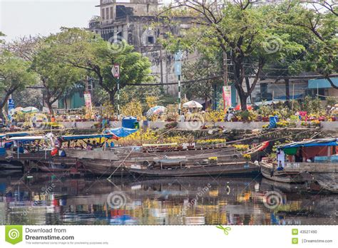 Flower Boats At Flowers Market On Binh Dong Wharf At