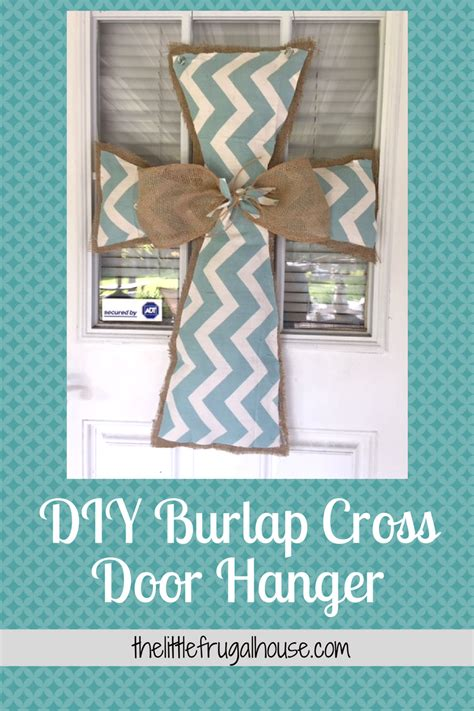 diy door hanger diy burlap cross door hanger the frugal house