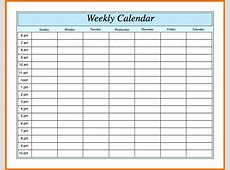 printable weekly calendar with hours Printable Calendar