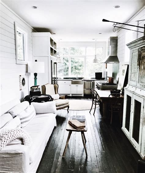 Interior Shiplap For Sale by White Shiplap Interior With Black Painted Wood Floors