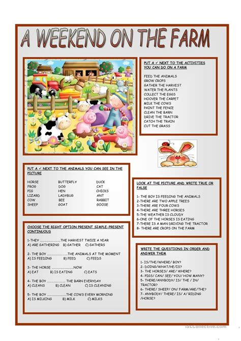 a weekend on the farm worksheet free esl printable