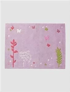 tapis fille fleurs et papillons violet vertbaudet enfant With tapis chambre bébé avec fleurs et plantes en ligne